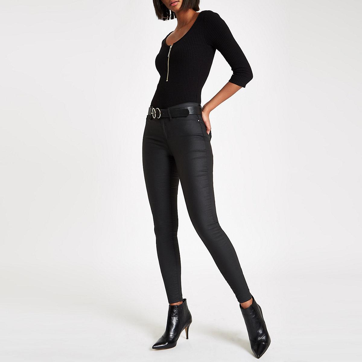 Body noir zippé à manches longues et strass
