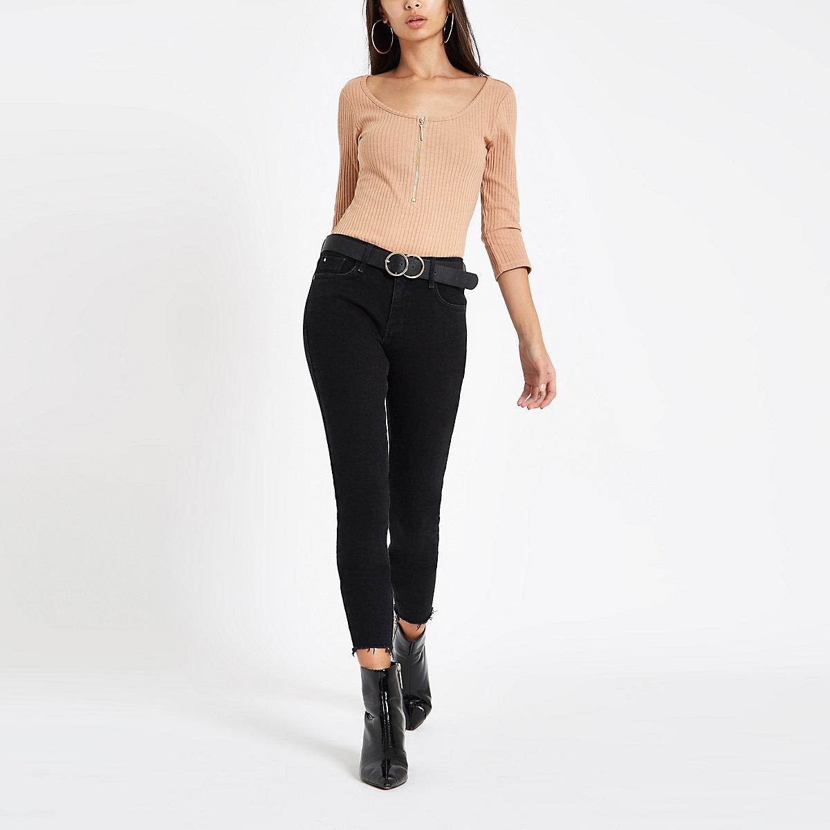 Beige rhinestone zip long sleeve bodysuit