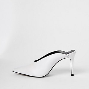 White leather square cut out mules