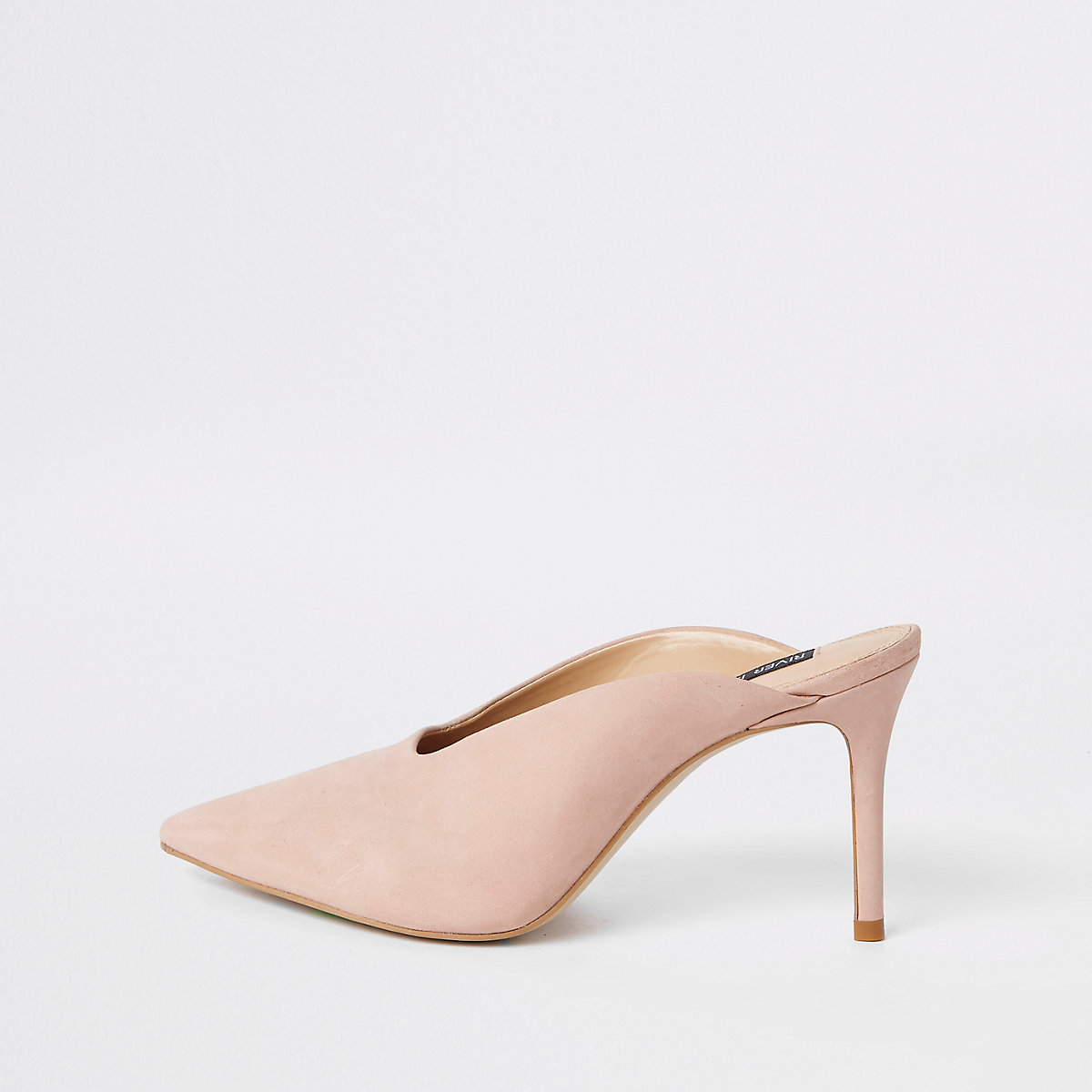 Light pink leather square cut out mules