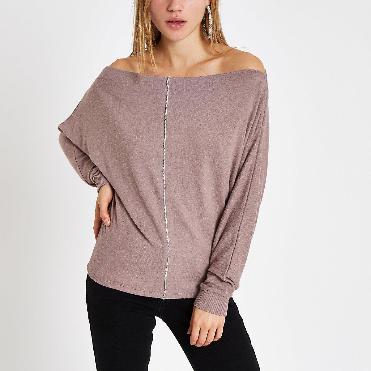 Bardot-Pullover mit Strass und Fledermausärmeln