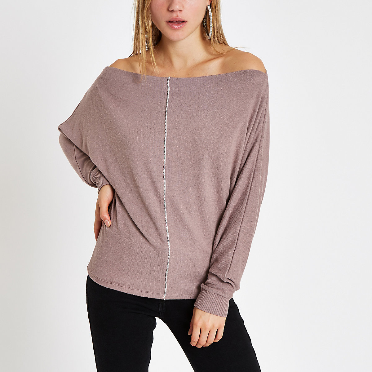 Brown rhinestone bardot batwing sleeve sweater