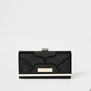 Black glitter cutabout panel cliptop purse