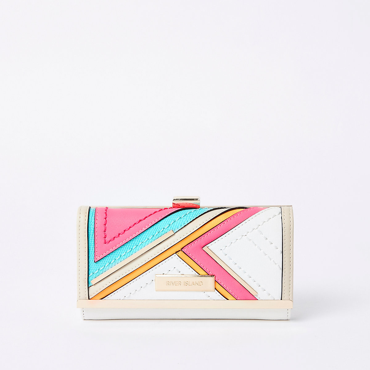 Bright pink cutabout panel cliptop purse