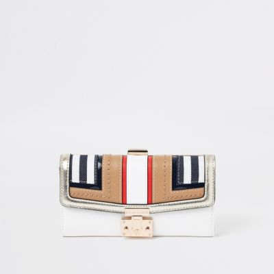 Beige Stripe Cutabout Panel Cliptop Purse by River Island