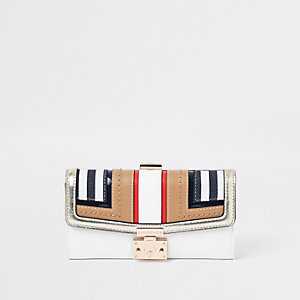 Beige stripe cutabout panel cliptop purse