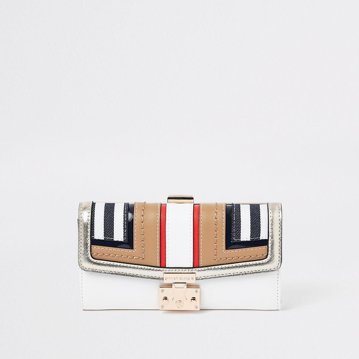 Beige stripe cutabout panel cliptop purse
