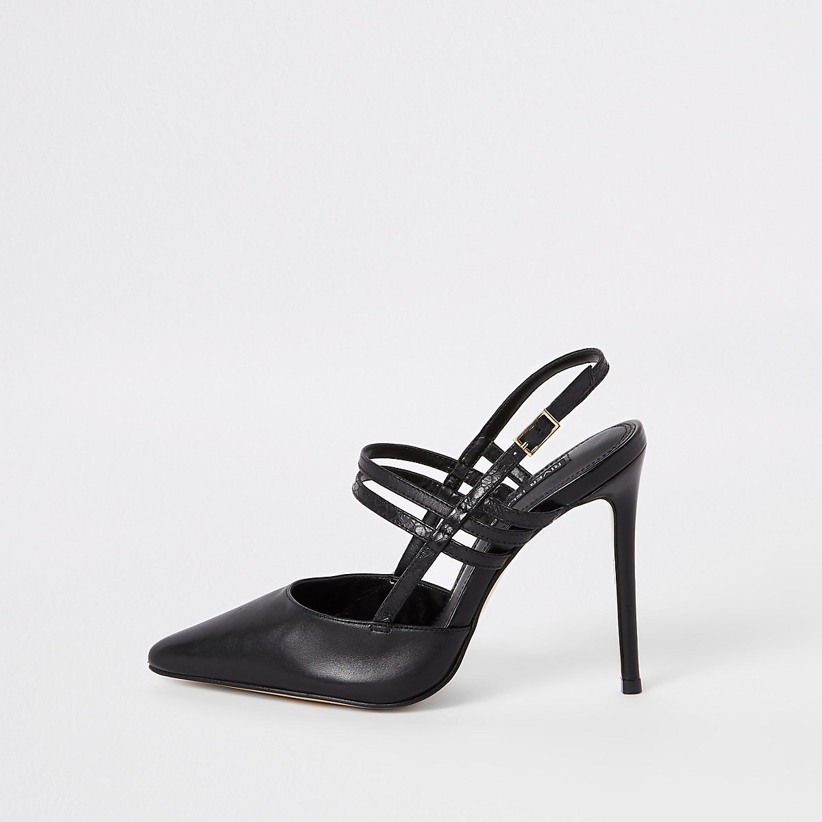 Black leather strappy pumps