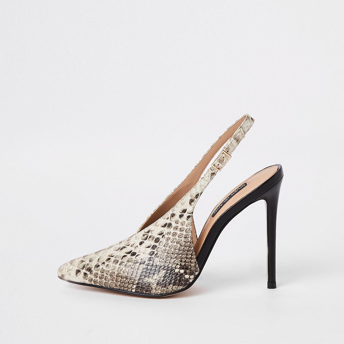Beige snake print V sling back court shoes