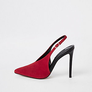 Red leather V sling back heels