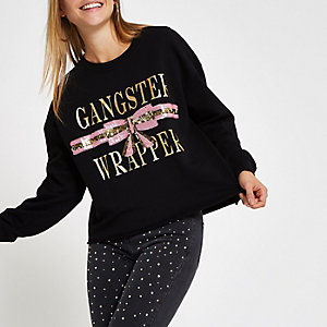 Zwart sweatshirt in kerststijl met 'gangster wrapper'-print