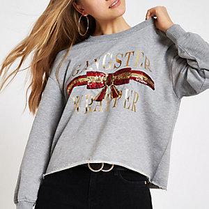 Grijs sweatshirt in kerststijl met 'Gangster wrapper'-print