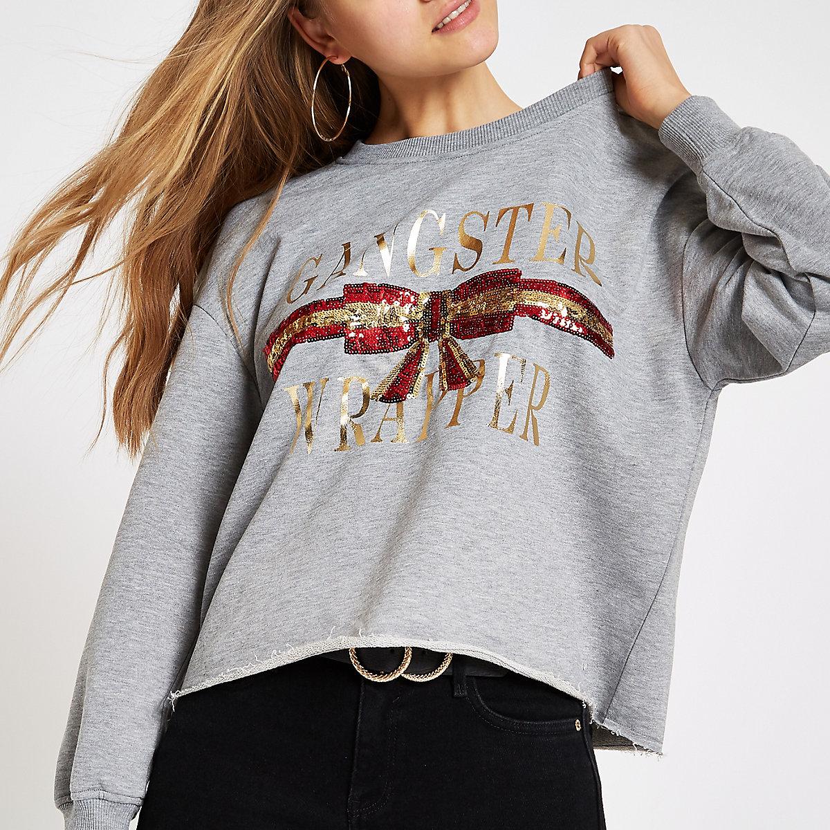 Grey 'Gangster wrapper' Christmas sweatshirt