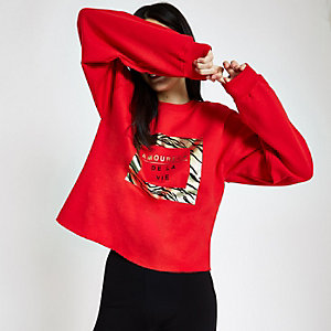 Red 'Amoureux' gold foil print sweatshirt