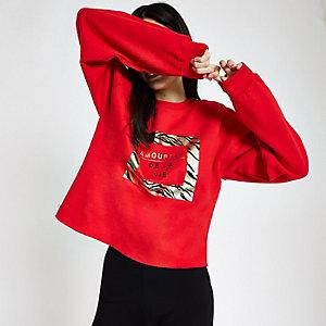 Rood sweatshirt met 'Amoureux'-goudfolieprint