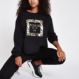 Black 'Amoureux' gold foil print sweatshirt