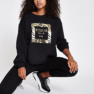 """Schwarzes Sweatshirt mit Print """"Amoureux"""""""