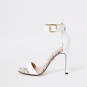 White croc barely there square toe sandals