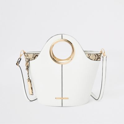 White Circle Handle Tote Bag by River Island