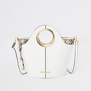White circle handle tote bag