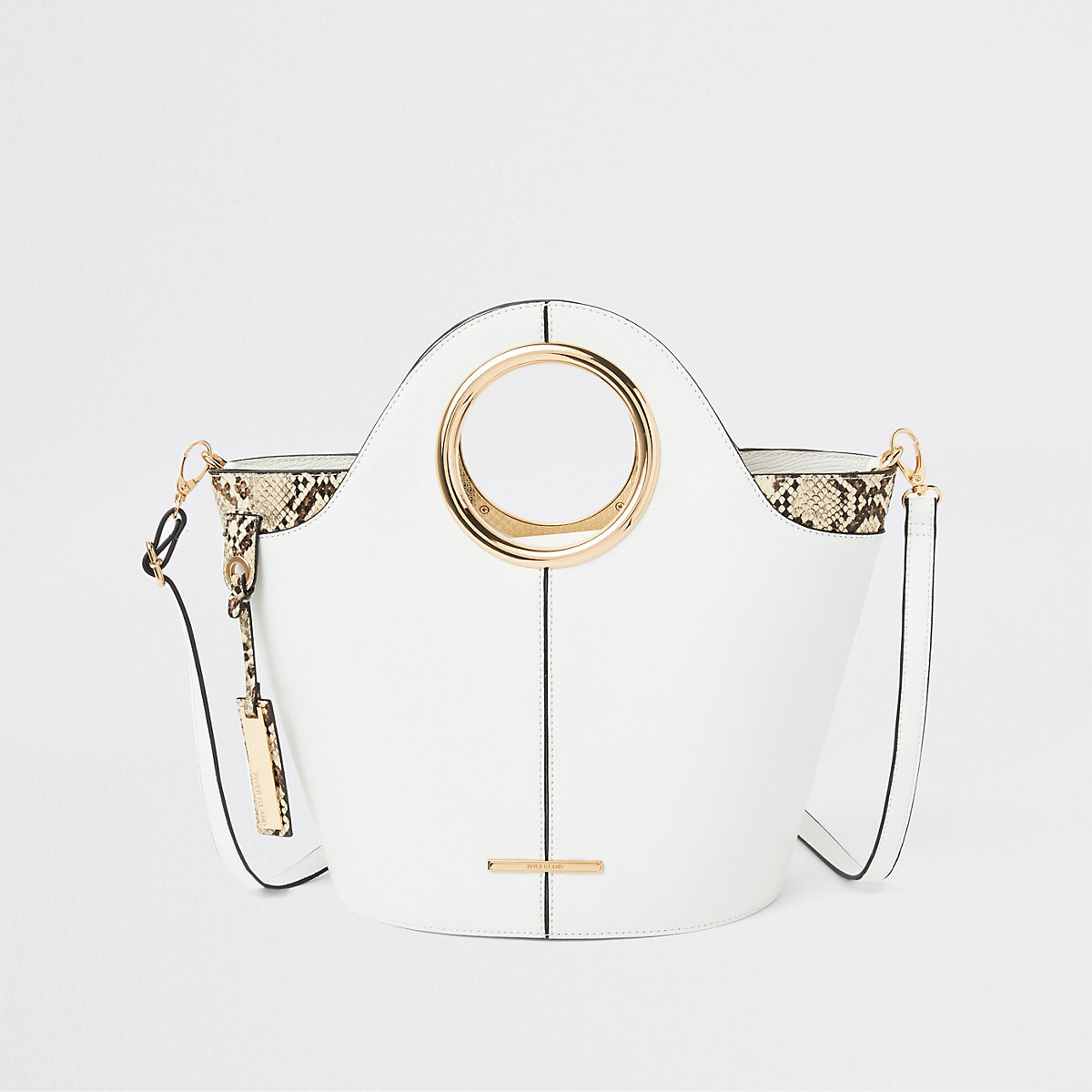 White circle handle tote bag