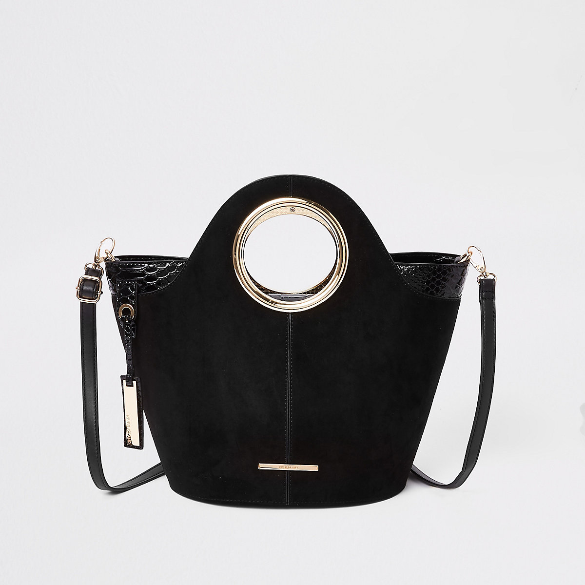 Black circle handle mini tote bag