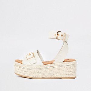 White espdarille flatform sandals