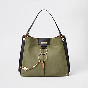 Khaki oversized ring front slouch bag