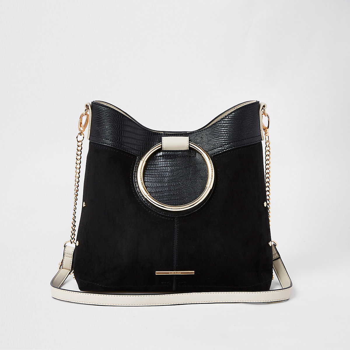 Black ring handle bucket bag