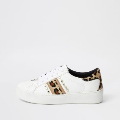 White Studded Leopard Print Trainers by River Island