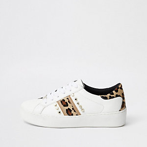 White studded leopard print sneakers