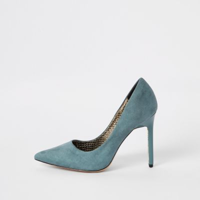 Blue Faux Suede Wide Fit Court Shoes by River Island