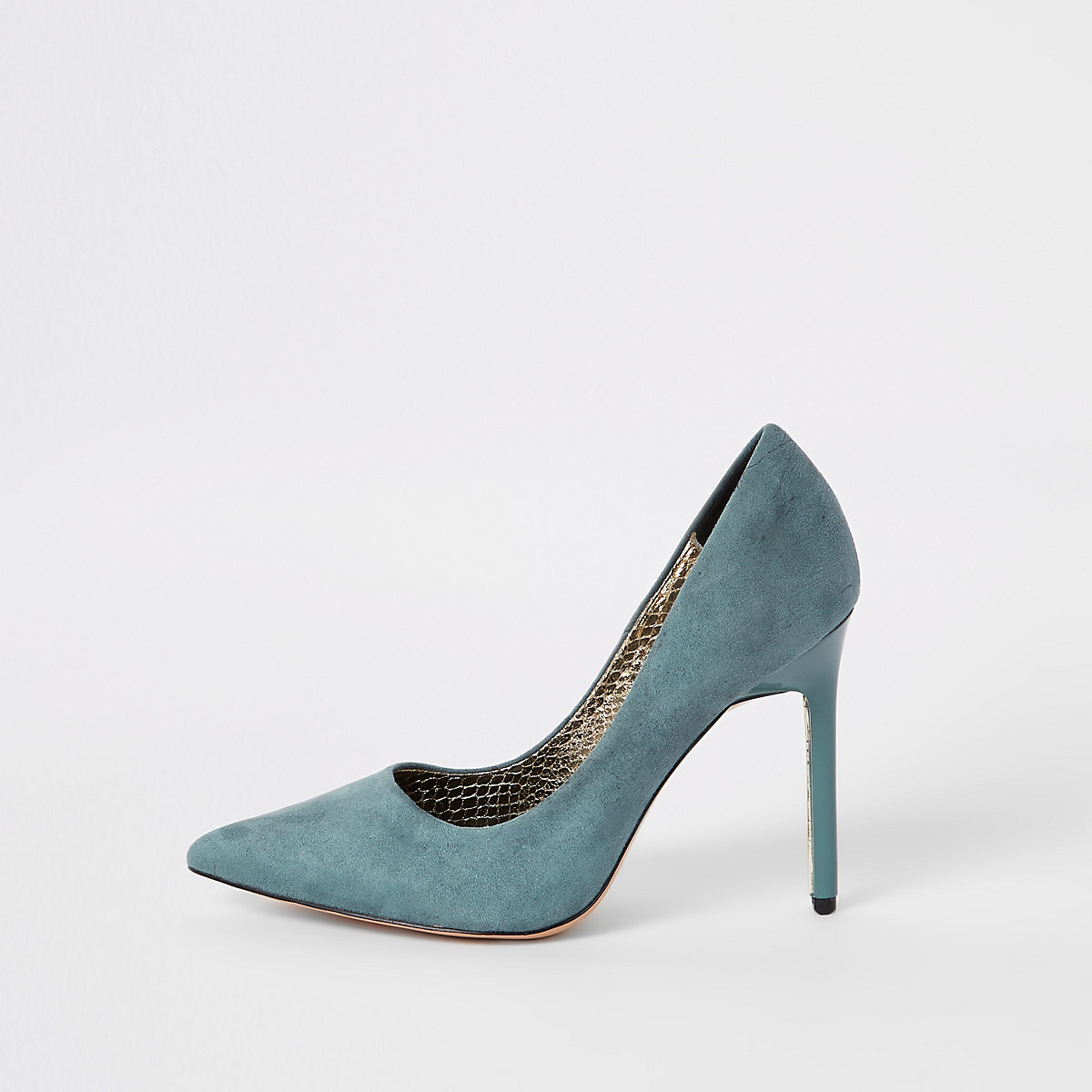 Blue faux suede wide fit pumps