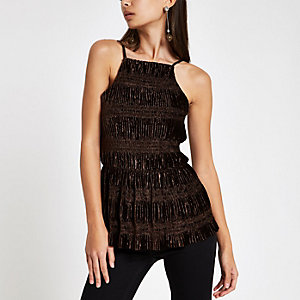 Brown ruched velvet halter neck cami top