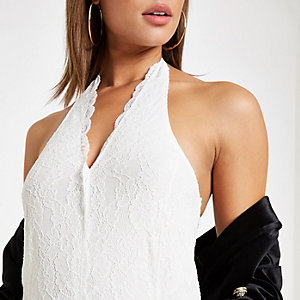 White lace halter neck bodysuit