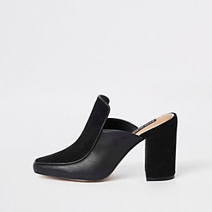 Black leather square toe block heel mules