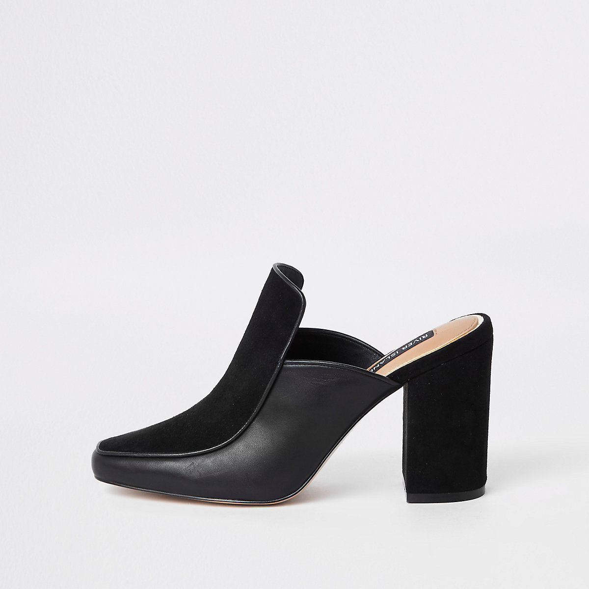 Black leather wide fit block heel mules