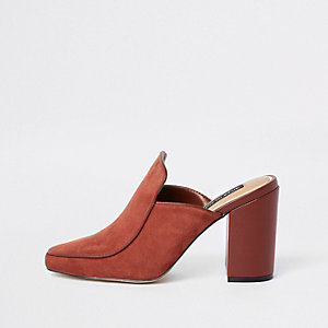 Rust suede square toe block heel mules