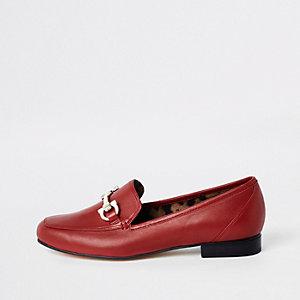 Rote Loafer aus Leder, weite Passform