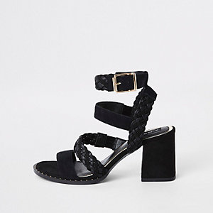 Black leather woven stud sandals