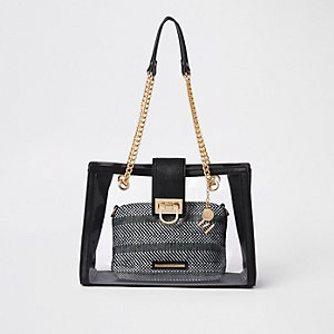 Black perspex inner pouch chain tote bag