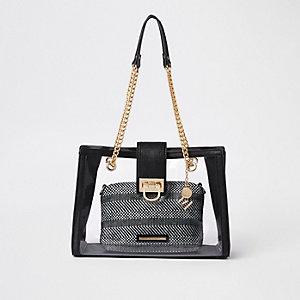Zwarte perspex handtas met binnenvak en ketting
