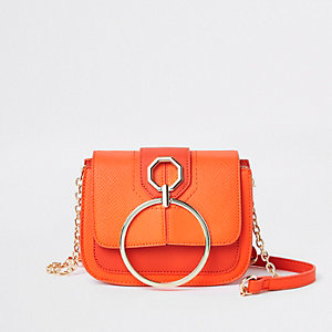 Bright red ring front cross body bag