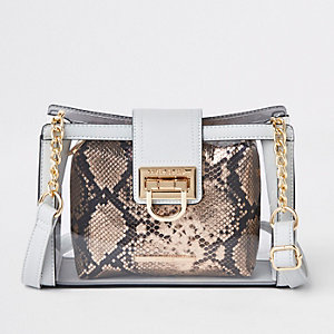 Grey perspex pouch cross body bag