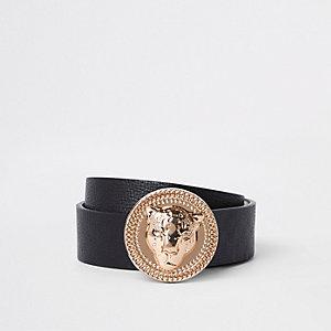 Schwarzer Jeansgürtel mit Jaguar-Kopf