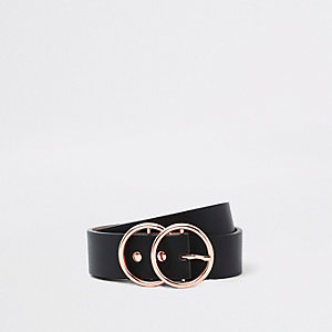Black rose gold tone double ring waist belt