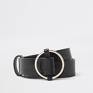 Black gold tone ring belt