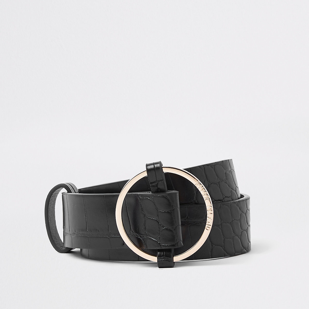 Black gold tone ring belt