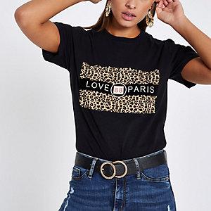 """Schwarzes T-Shirt mit Leopardenprint """"Love Paris"""""""
