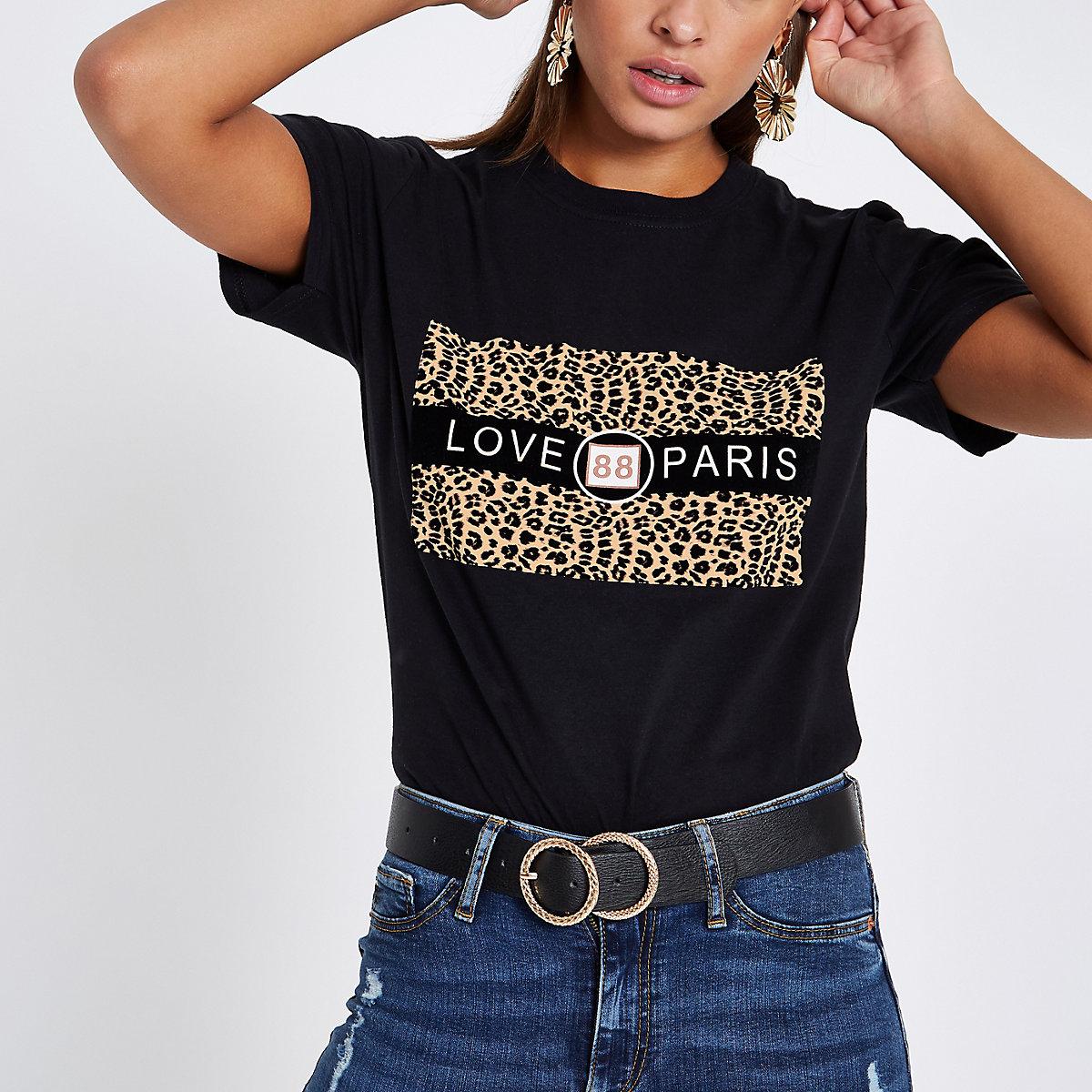 Black 'love paris' leopard print T-shirt